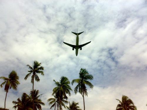 pesawat terbang rendah di atas pantai batu besar