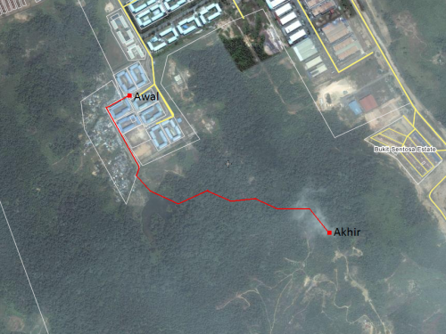 rute dari Blok R menuju air terjun